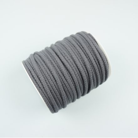 Шнур для одягу графіт (6 мм) бавовняний круглий