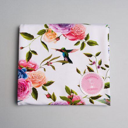 Стрейч-кулір кольорові троянди на білому (цифровий друк)