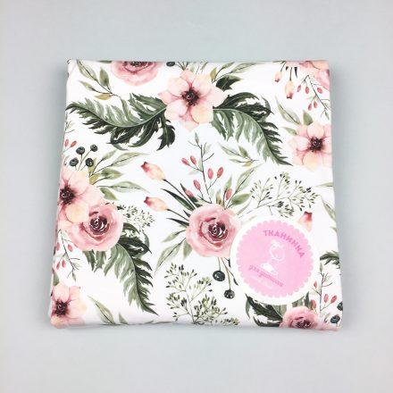 Футер рожеві квіти на білому (цифровий друк)
