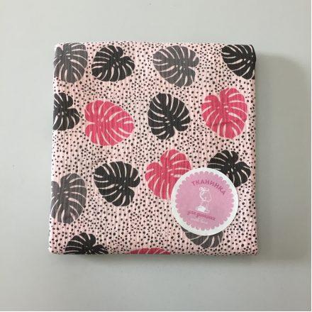 Муслін рожево-сіра папороть на рожевому