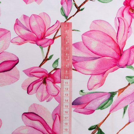 Стрейч-кулір рожеві магнолії на білому (цифровий друк)