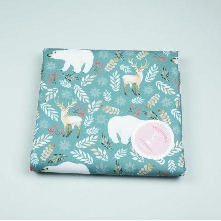 Водовідштовхуюча тканина ведмеді та олені на зеленому